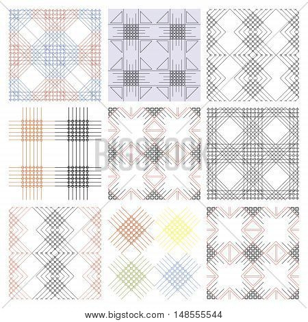 Set of seamless vector geometric colorful patterns with ornamental elements, endless background with classic motifs. Graphic vector illustration. Series- sets of vector seamless patterns.