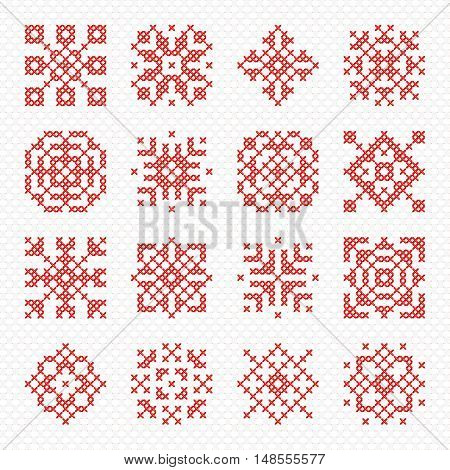 Set of cross stitch element for embroidery design. Decorative blank for frames and patterns. Vector illustration. Cross-stitch snowflake flower and geometric ornament.