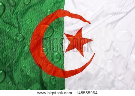 Flag Of Algeria With Rain Drops
