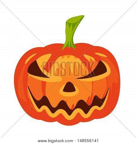 Vector isolated pumpkin. Halloween design emotion angry smiling sad scary evil smile. Jack lantern for website flier invitation card sticker