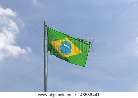 National Flag Of Brazil On A Flagpole