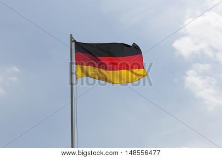 National Flag Of Germany On A Flagpole