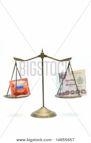 Concept Of Money Equal To Sex Condon On Golden Scale
