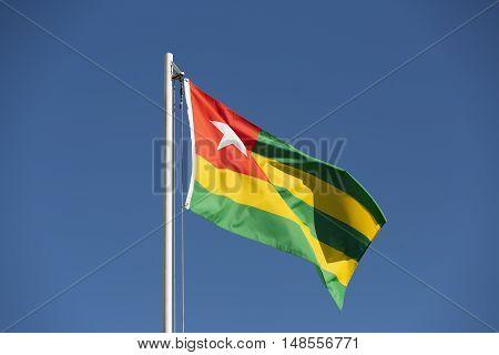 National Flag Of Togo On A Flagpole