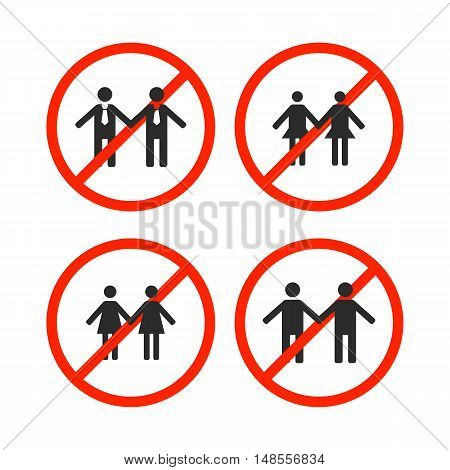 Round prohibition sign for gays lesbian and same-sex marriage isolated on white background love couple icon vector illustration.