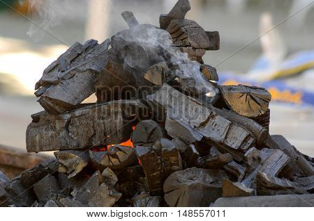 picture of a Preparing Hot Charcoal in the big BBQ