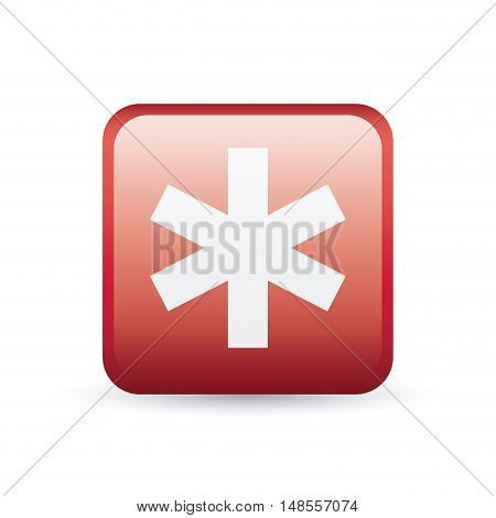 Caduceus inside frame icon. Medical and health care theme. Colorful and isolated design. Vector illustration