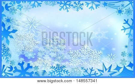 Winter background. Frame of snowflakes and frost pattern