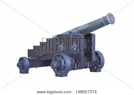 Old copper cannon over a white background.