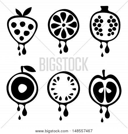 Set of vector black and white illustrations of fruits. Half of strawberry, lime, pomegranate, apple, orange, cherry, watermelon, in droplets of juice. Series of Fruits vector Illustrations.