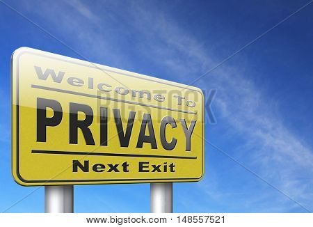 private and personal information road sign, billboard for privacy protection and discretion of restricted info and data 3D, illustration