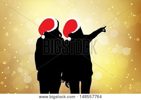 silhouette of two christmas girl pointing somethingbeauty