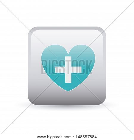 Cross shape and heart inside frame icon. Medical and health care theme. Colorful and isolated design. Vector illustration