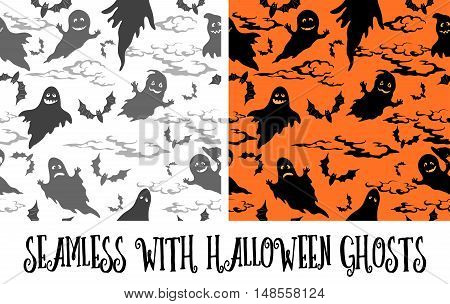 Seamless Patterns, Symbols Halloween Holiday, Ghosts, Bats, Clouds Grey and Black Silhouettes on White and Orange Background. Vector