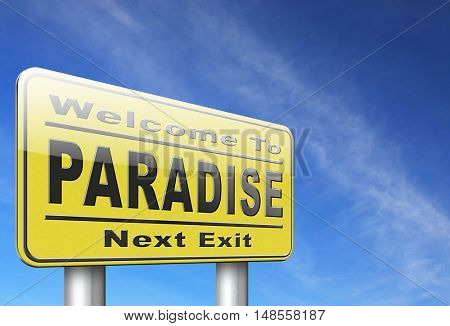 Paradise road or way to heaven, a fantastic beach tropical exotic island for a dream vacation, billboard sign. 3D, illustration