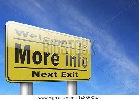 more information sign additional info billboard read more  3D, illustration