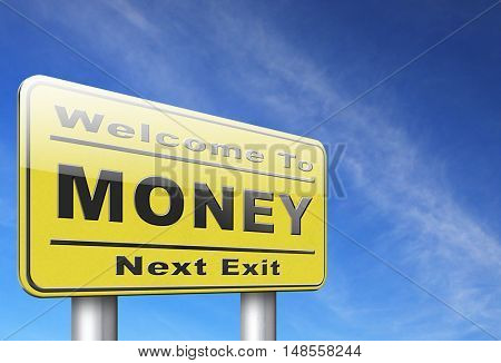 Money, search for cash or credit bank loan or earning dollars, road sign billboard. 3D, illustration