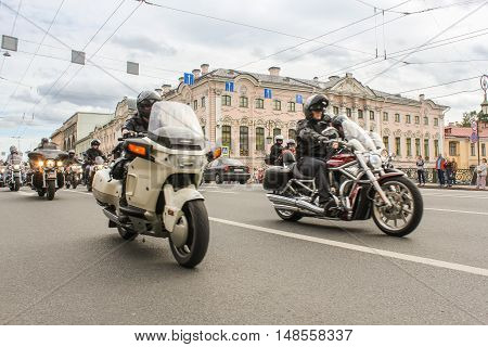 St. Petersburg, Russia - 13 August, People on motorcycles traveling on the bridge,13 August, 2016. The annual parade of Harley Davidson in the squares and streets of St. Petersburg.