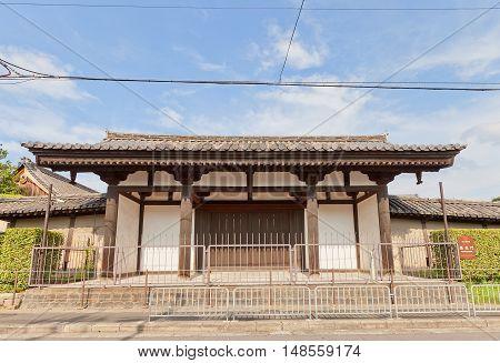KYOTO JAPAN - JULY 23 2016: Rengemon Gate (circa 1191) of Toji Temple in Kyoto. Registered National Treasure of Japan