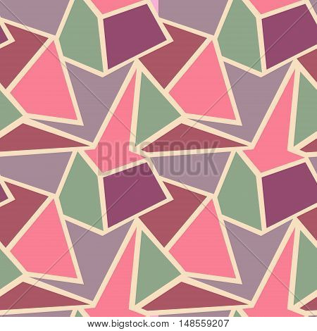 Seamless vector geometric pattern. Background with triangles in pastel pink and blue colors. Graphic illustration.