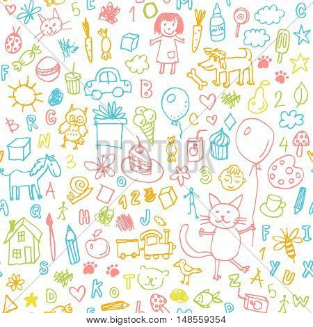 Funny children drawing vector doodle seamless pattern