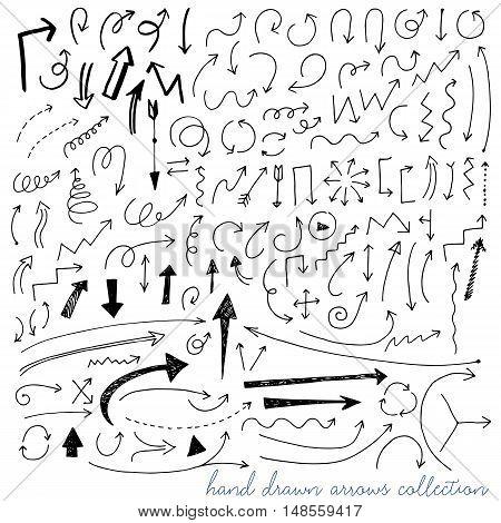 Hand drawn curved sketch vector arrows set. Vector EPS.