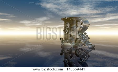 machine letter r under cloudy sky - 3d illustration
