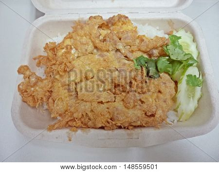 Packed lunch omelette with pork (Thai food)