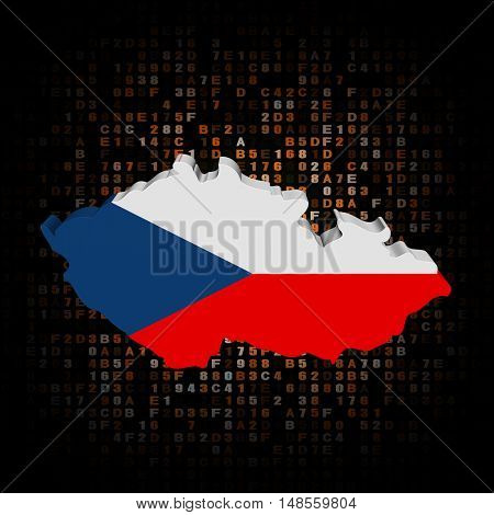 Czech Republic map flag on hex code 3d illustration