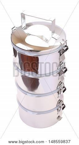 Top side metal tiffin carrier on white background.