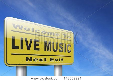 music live stream radio music or listen live on air broadcasting songs program road sign 3D, illustration