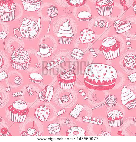 Set of various doodles, hand drawn sweets, cupcakes and candies sketches seamless surface pattern