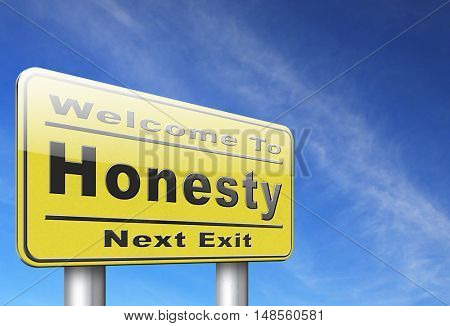 Honest honesty leads a long way find justice search truth, road sign. 3D, illustration