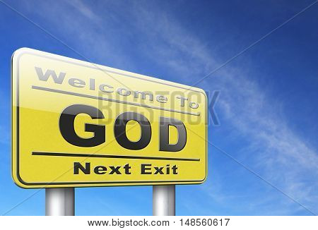 God and salvation search road to heaven, religion and belief in the lord, road sign billboard. 3D, illustration