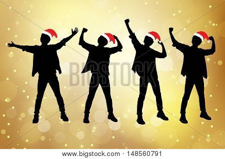 Silhouette of excited christmas man arise arm with white background