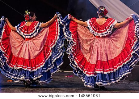 ROMANIA TIMISOARA - JULY 9 2016:Young dancers from Costa Rica in traditional costume present at the international folk festival