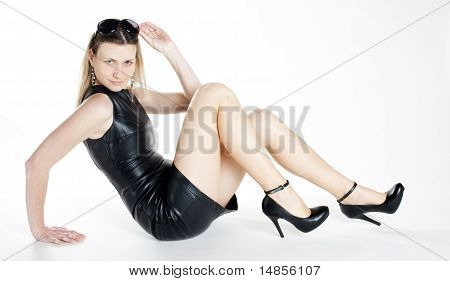 Woman Wearing Black Dress