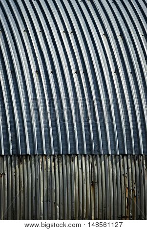 abstract background or texture Blue metal roof for arc the hangar