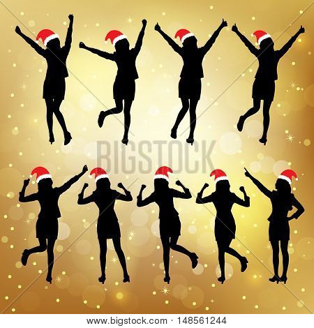 Silhouettes of christmas excited business woman with white background