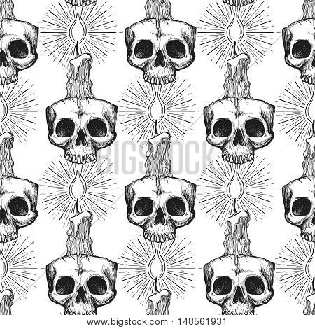 Occult seamless pattern. Skull and candle background vector