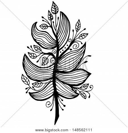 Very high quality original feather with leaves with pattern for coloring