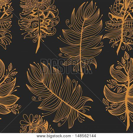 High quality original seamless pattern with feathers  for coloring or other need