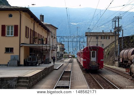 12 july 2009-campocologno-suisse-Campocologno station one of the stops of the red train of bernina