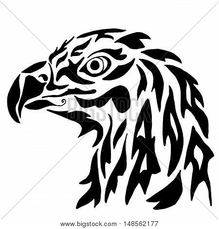 Eagle for coloring or tattoo isolated on white background