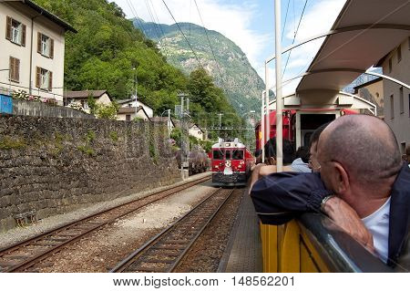 12 july 2009-tirano-italy-Swiss mountain train Bernina Express crossed through the high montainssuisse