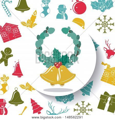 Leaves crown and bell inside circle icon. Merry Christmas season and decoration theme. Colorful design. Vector illustration