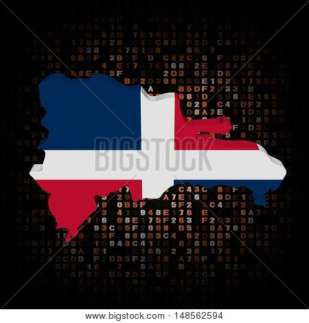 Dominican Republic map flag on hex code 3d illustration