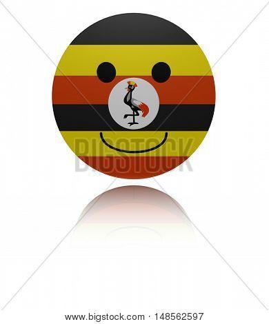 Uganda happy icon with reflection 3d illustration