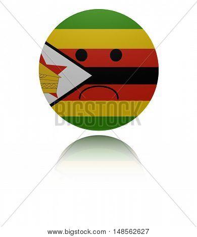 Zimbabwe sad icon with reflection 3d illustration