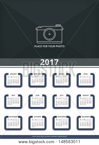2017 Wall calendar, week starts on Monday, A3 size, place for your photo, vector eps10 illustration